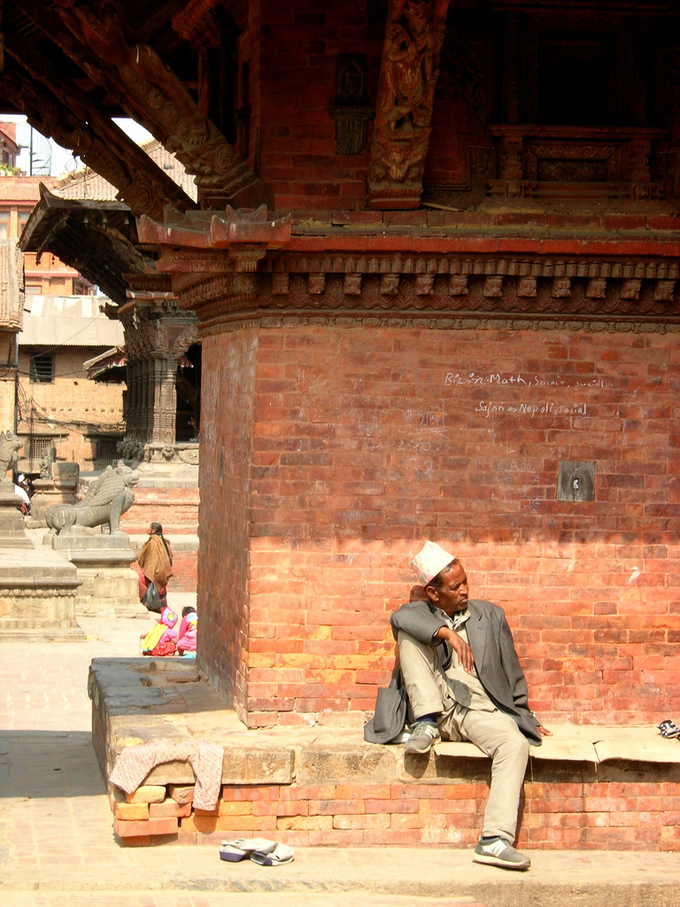 A Newari man in the now-destroyed Patan Durbar Square, Feb 2008.