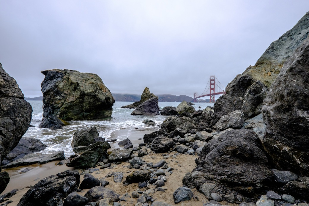 The Golden Gate Bridge from the rocks at Baker Beach.
